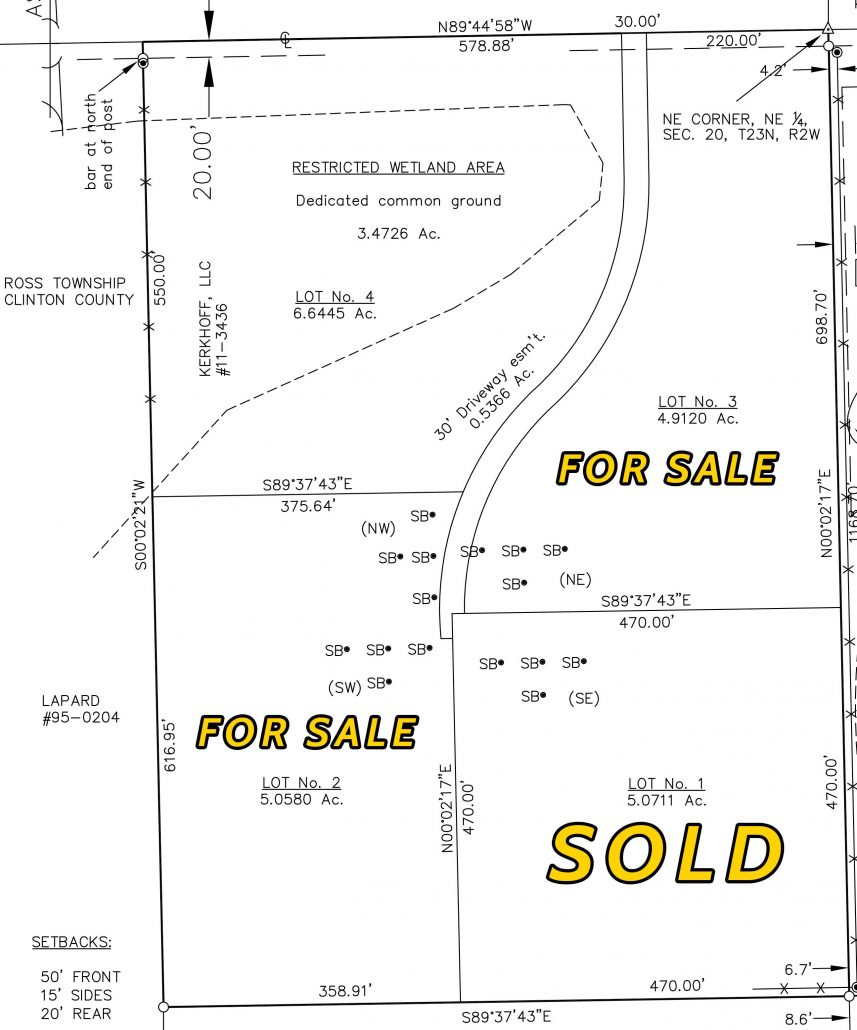 5 Acre Building Lots for Sale Rossville, Indiana Pleasant Meadow Lots for Sale